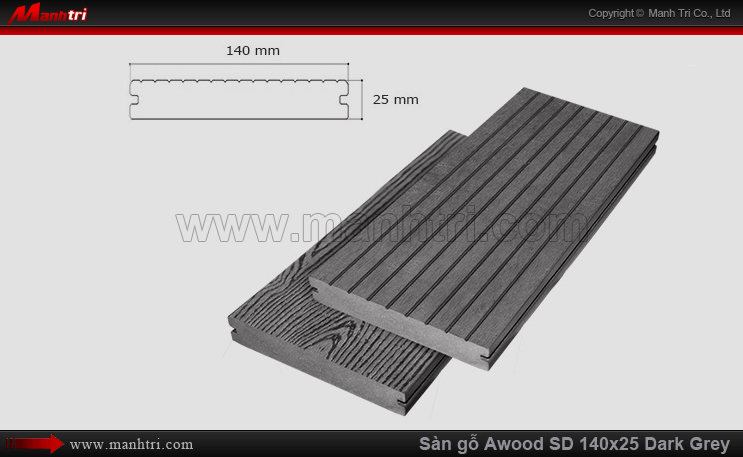 Sàn gỗ Awood SD140x25 Dark Grey