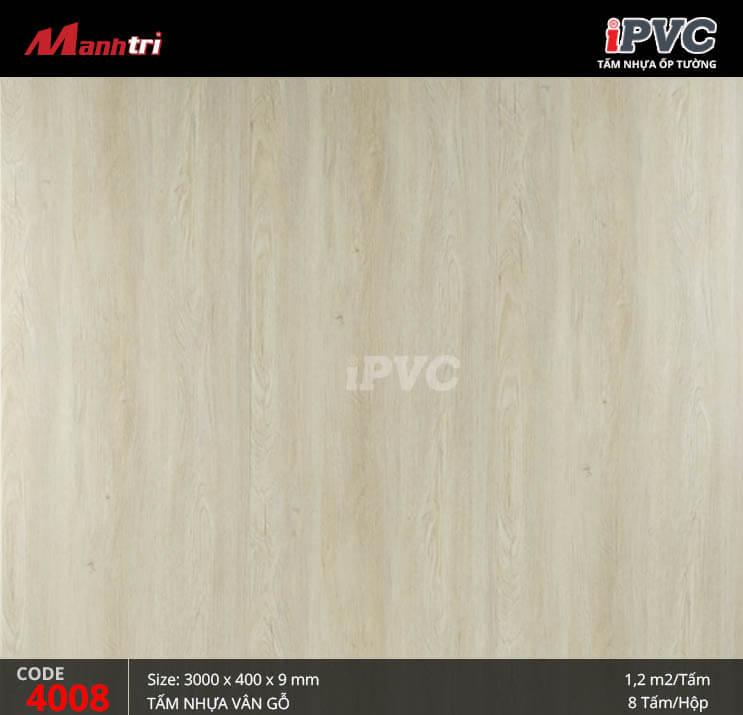 Tấm nhựa iPVC vân gỗ 4008