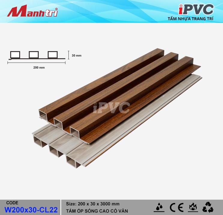 iPVC W200x30-CL22 Ốp Trần, Tường