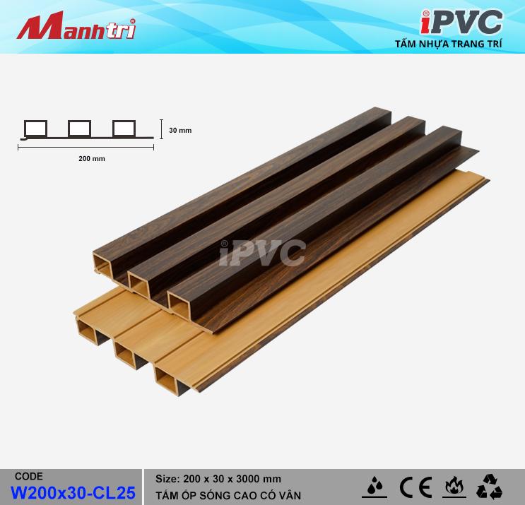 iPVC W200x30-CL25 Ốp Trần, Tường