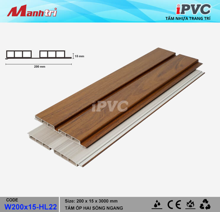iPVC W200x15-HL22 Ốp Trần, Tường