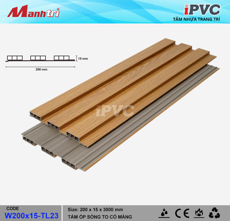 iPVC W200x15-TL23 Ốp Trần, Tường
