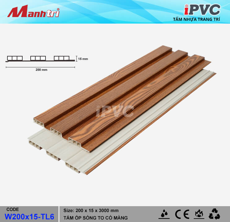 iPVC W200x15-TL6 Ốp Trần, Tường