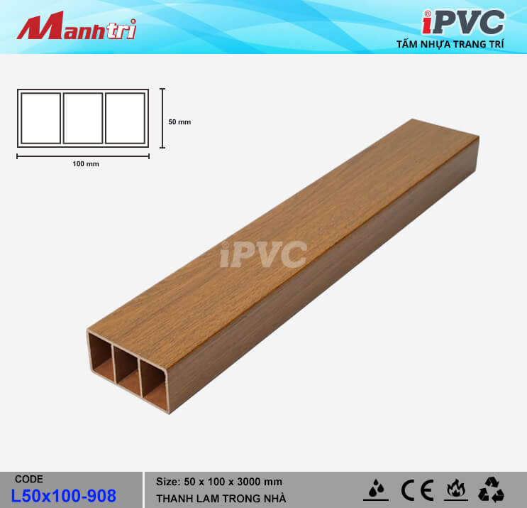 iPVC L100x50-908 Thanh Lam Gỗ