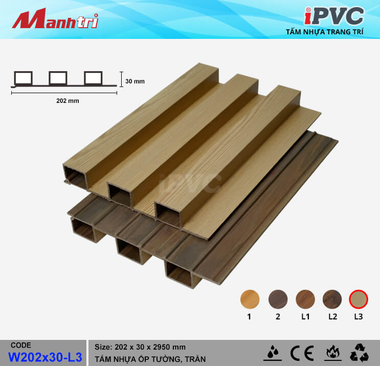 iPVC W202x30-L3 ốp trần, tường