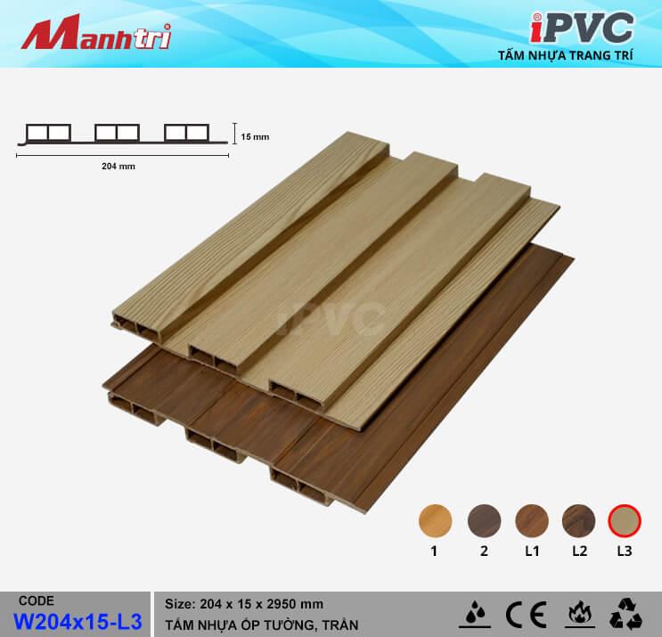 iPVC W204x15-1 ốp trần, tường