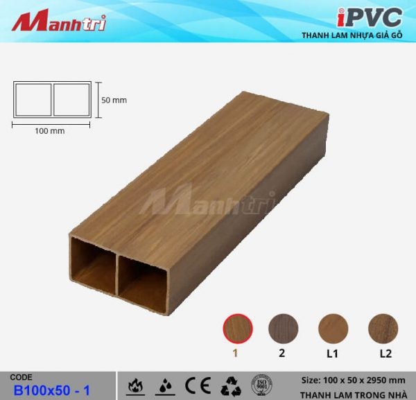 iPVC B100x50-1 Thanh Lam Gỗ