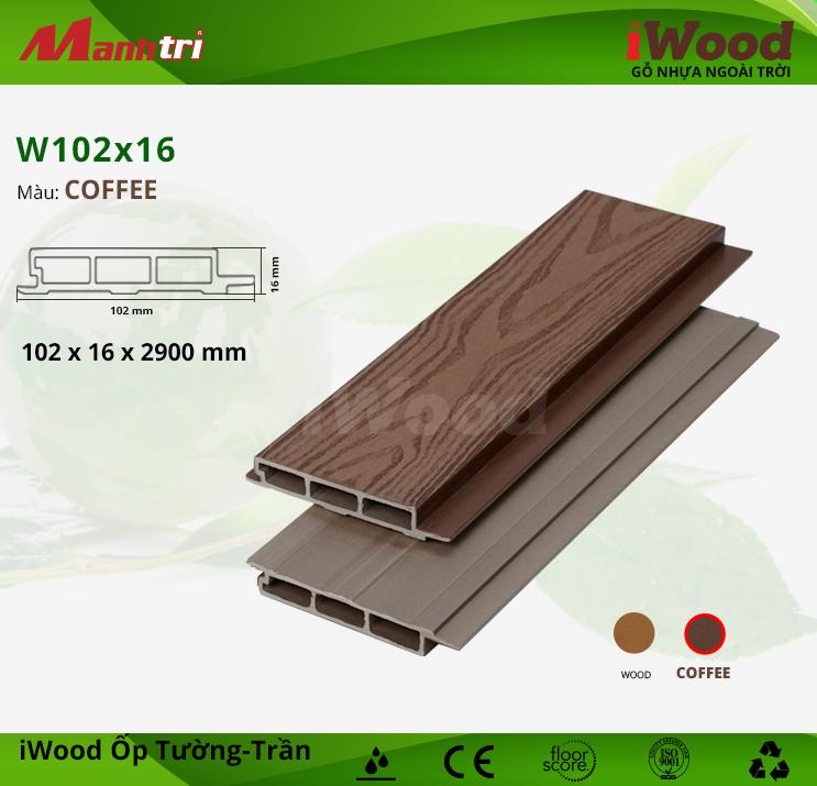 Ốp tường, trần gỗ nhựa iWood W102x16-Coffee