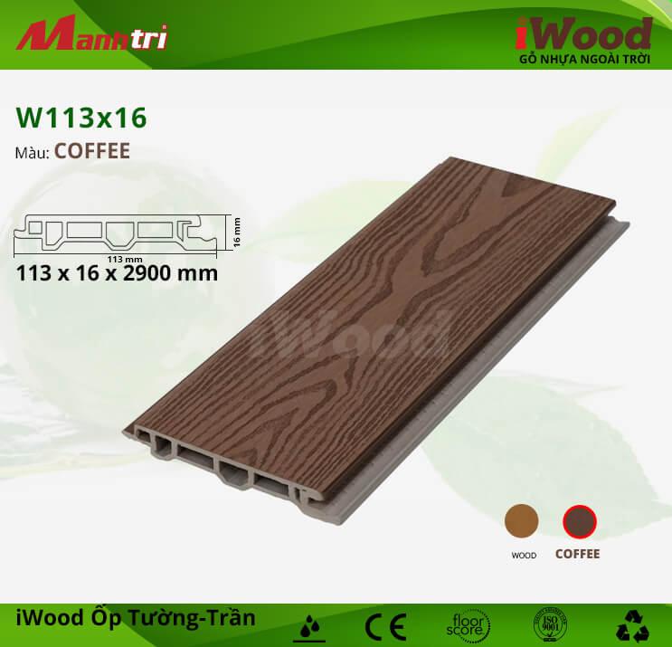 Ốp tường, trần gỗ nhựa iWood W113x16-Coffee
