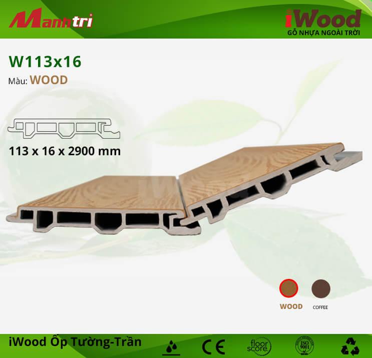 Ốp tường, trần gỗ nhựa iWood W113x16-Wood