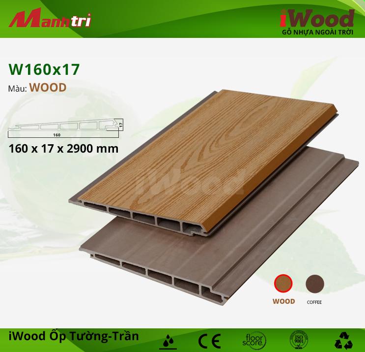 Ốp tường, trần gỗ nhựa iWood W160x17-Wood