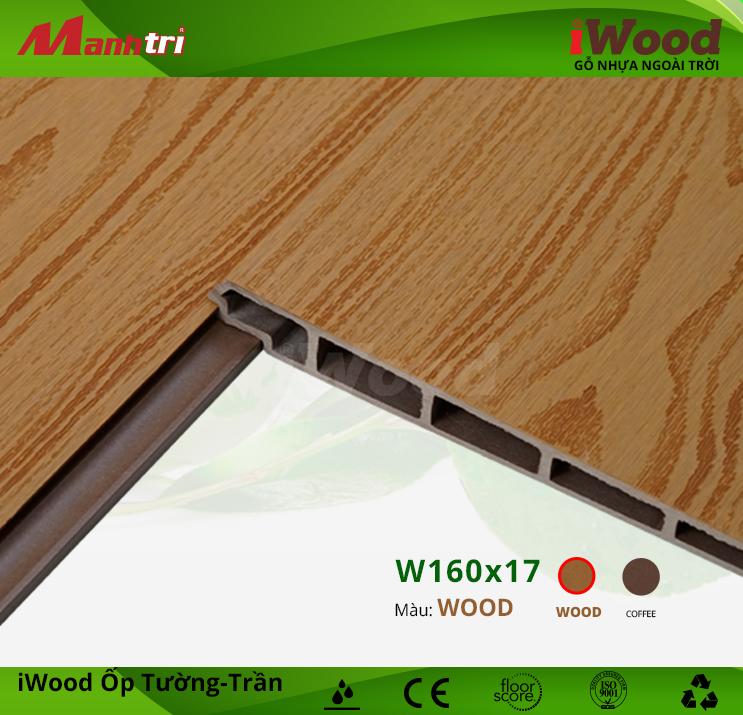 Ốp tường-trần gỗ nhựa iWood W160x17-Wood