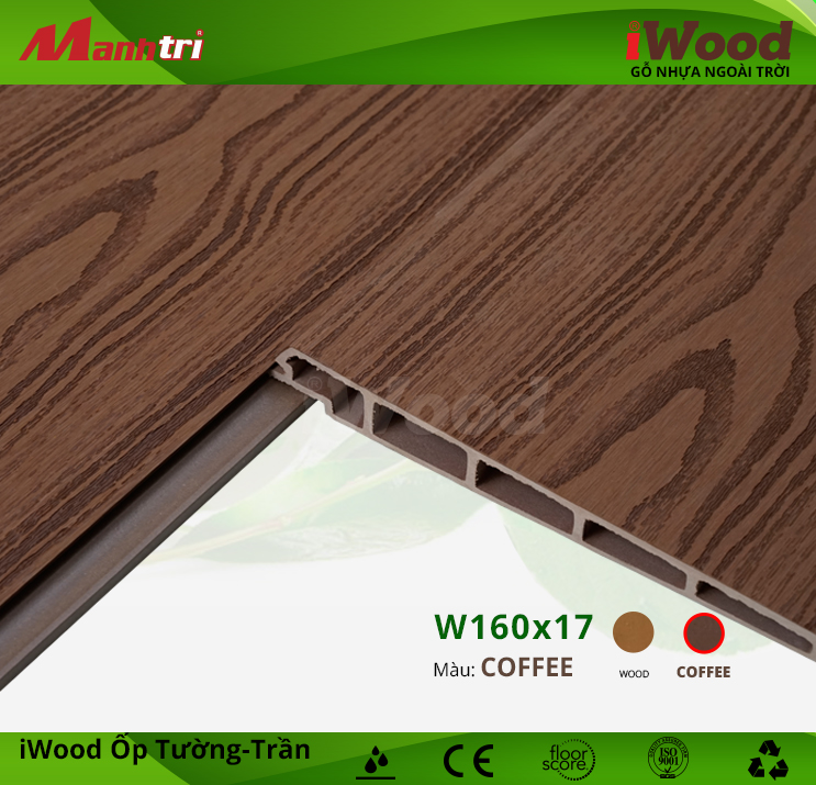 Ốp tường, trần gỗ nhựa iWood W160x17-Coffee