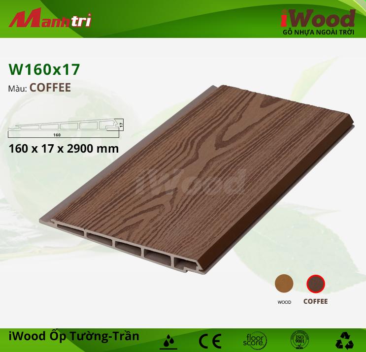 Ốp tường-trần gỗ nhựa iWood W160x17-Coffee