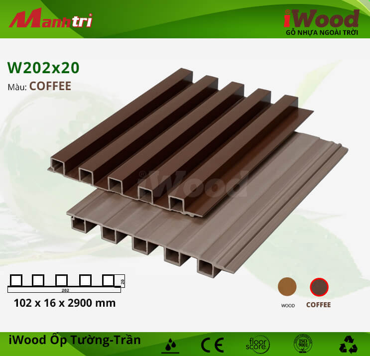Ốp tường, trần gỗ nhựa iWood W202x20-Coffee