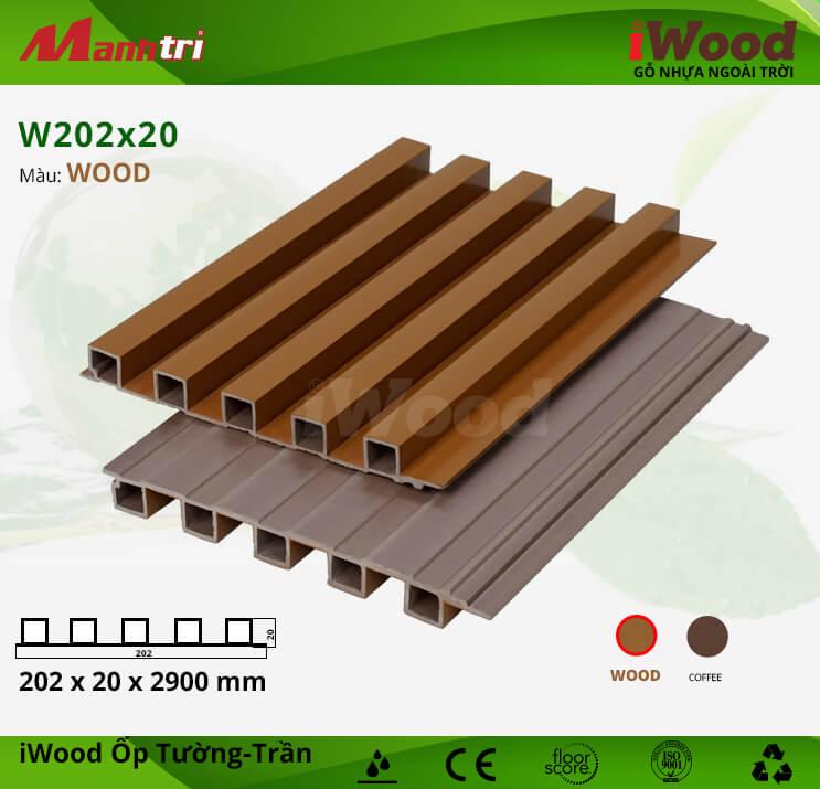 Ốp tường, trần gỗ nhựa iWood W202x20-Wood