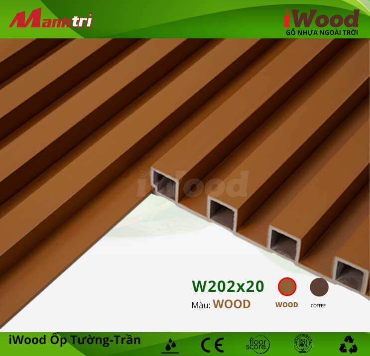 Ốp tường-trần gỗ nhựa iWood W202x20-Wood