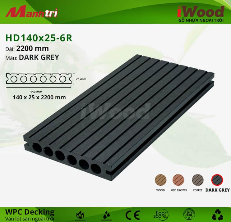 Sàn gỗ iWood HD140x25-6R-Dark Grey