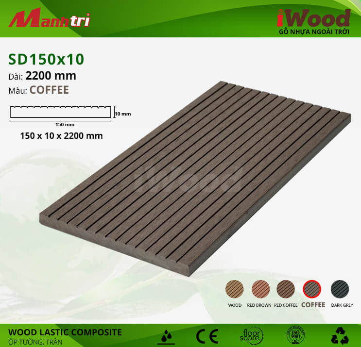 Ốp tường, trần gỗ iWood SD150x10-Coffee