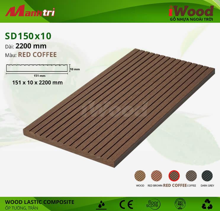 Ốp tường, trần gỗ iWood SD150x10-Red Coffee