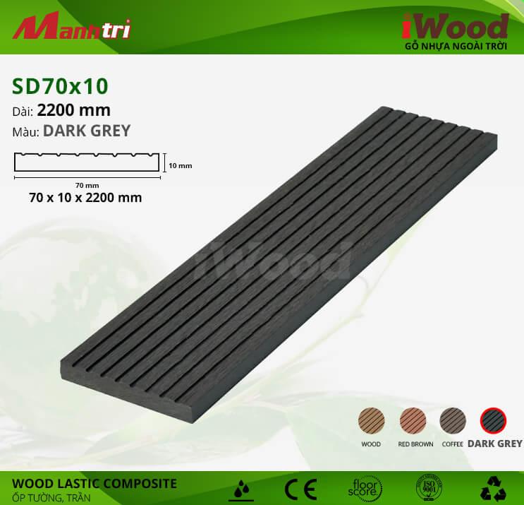Ốp tường, trần gỗ iWood SD70x10-Dark Grey