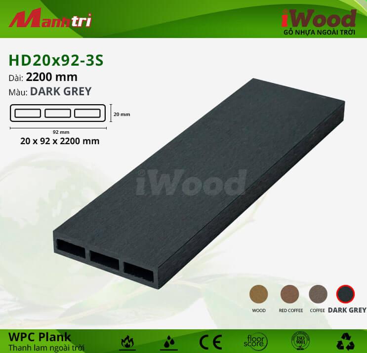 Thanh lam gỗ iWood HD20x92-3S-Dark Grey