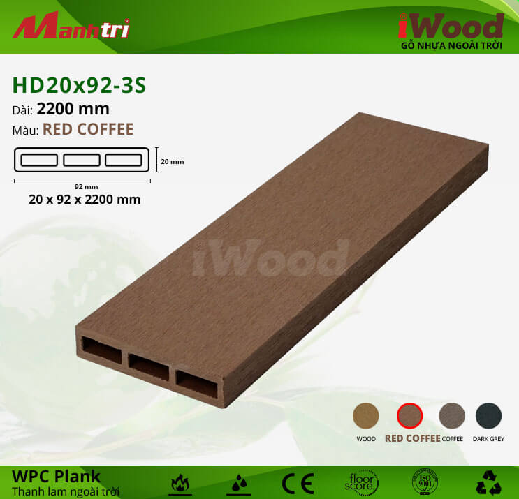 Thanh lam gỗ iWood HD20x92-3S-Red Coffee
