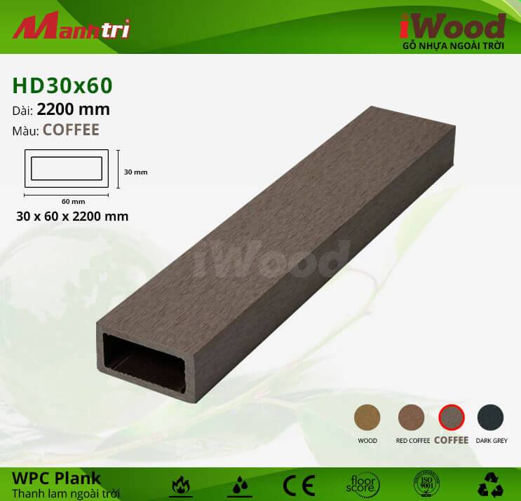 Thanh lam gỗ iWood HD30x60-Coffee