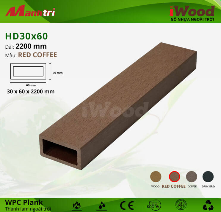 Thanh lam gỗ iWood HD30x60-Red Coffee