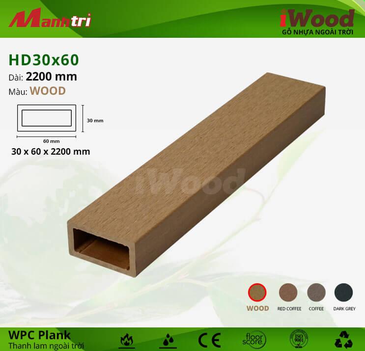 Thanh lam gỗ iWood HD30x60-Wood