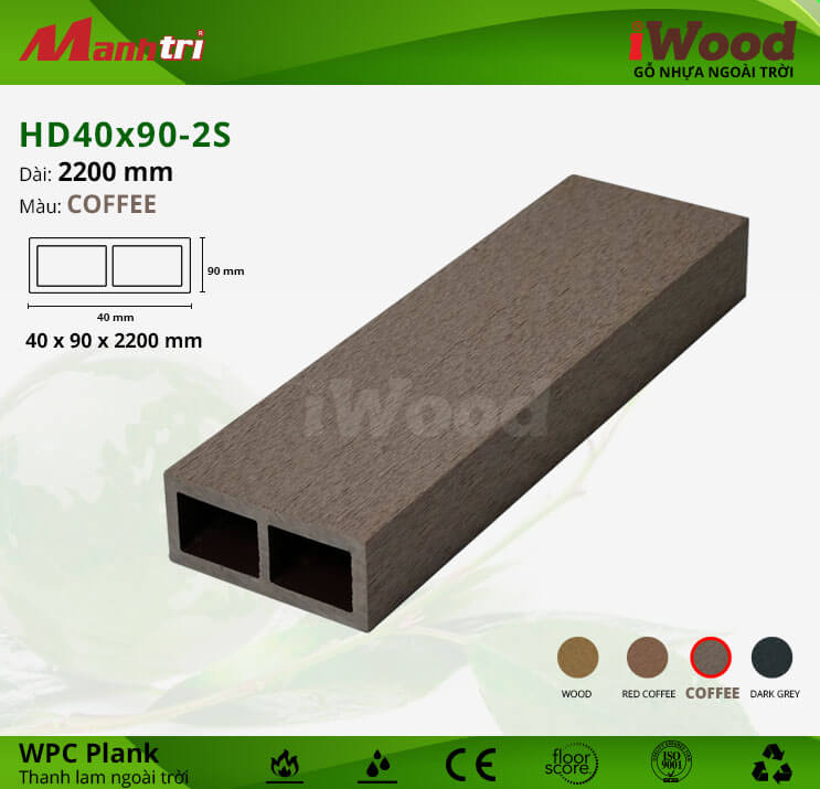 Thanh lam gỗ iWood HD40x90-2S-Coffee