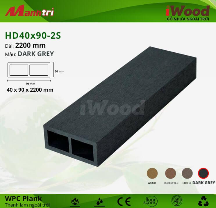 Thanh lam gỗ iWood HD40x90-2S-Dark Grey