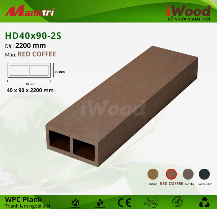 Thanh lam gỗ iWood HD40x90-2S-Red Coffee