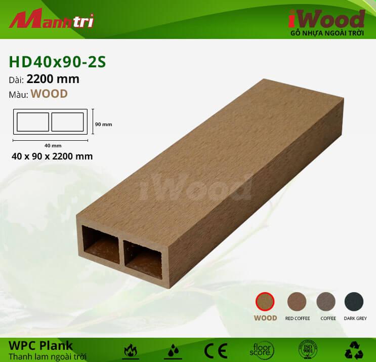 Thanh lam gỗ iWood HD40x90-2S-Wood