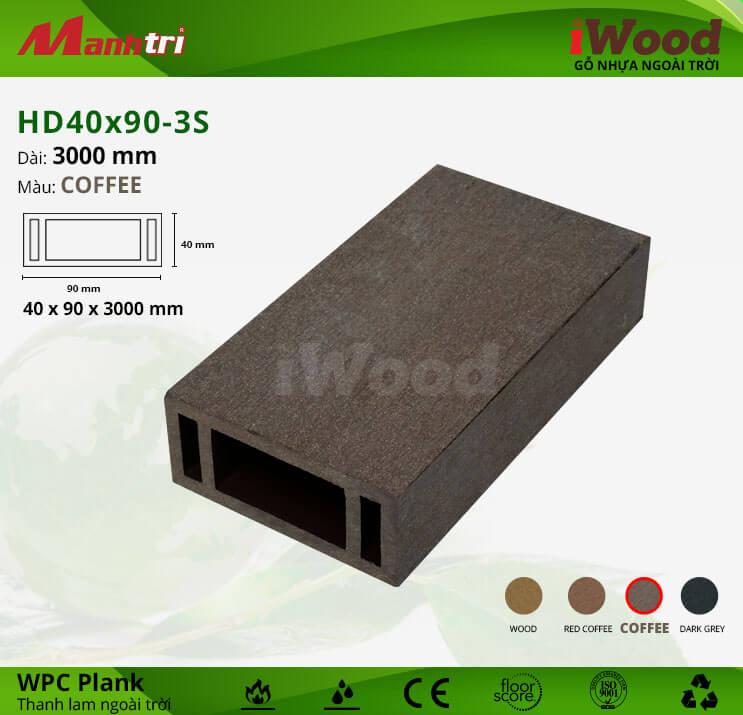 Thanh lam gỗ iWood HD40x90-Coffee