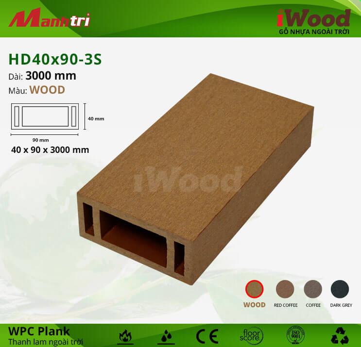 Thanh lam gỗ iWood HD40x90-Wood