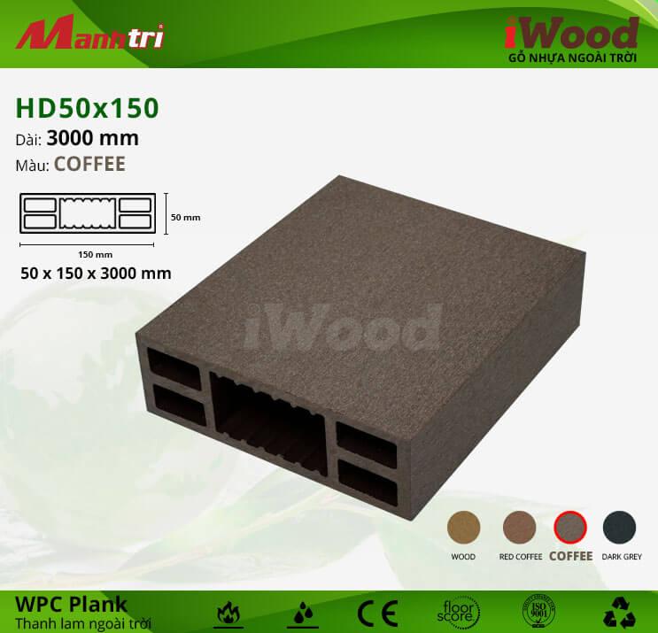 Thanh lam gỗ iWood HD50x150-Coffee