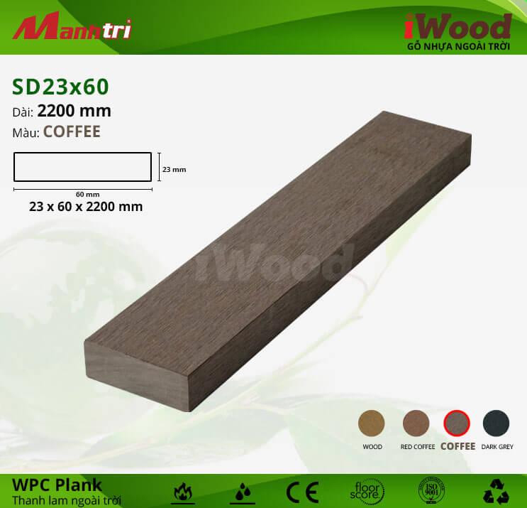 Thanh lam gỗ iWood SD23x60-Coffee