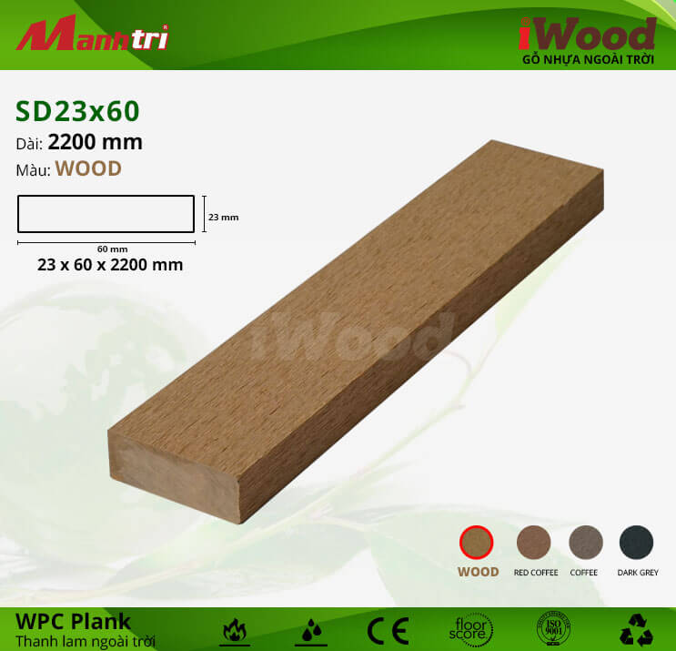 Thanh lam gỗ iWood SD23x60-Wood