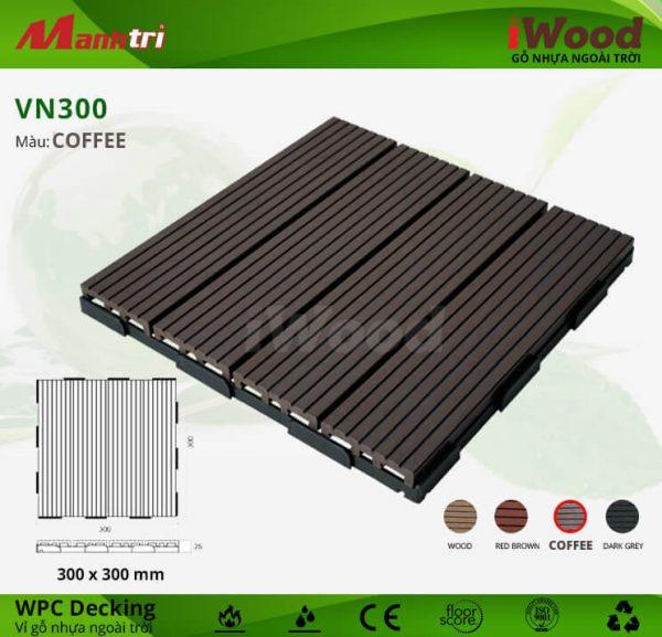 Vỉ Gỗ Nhựa Lót Sàn iWood VN300-Coffee