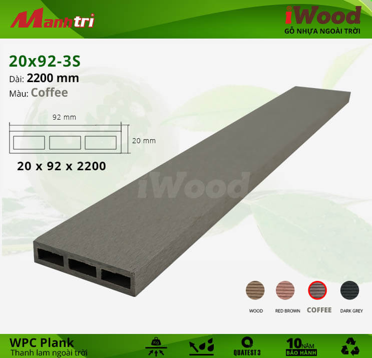 Thanh lam gỗ iWood 20x92-3S-Coffee