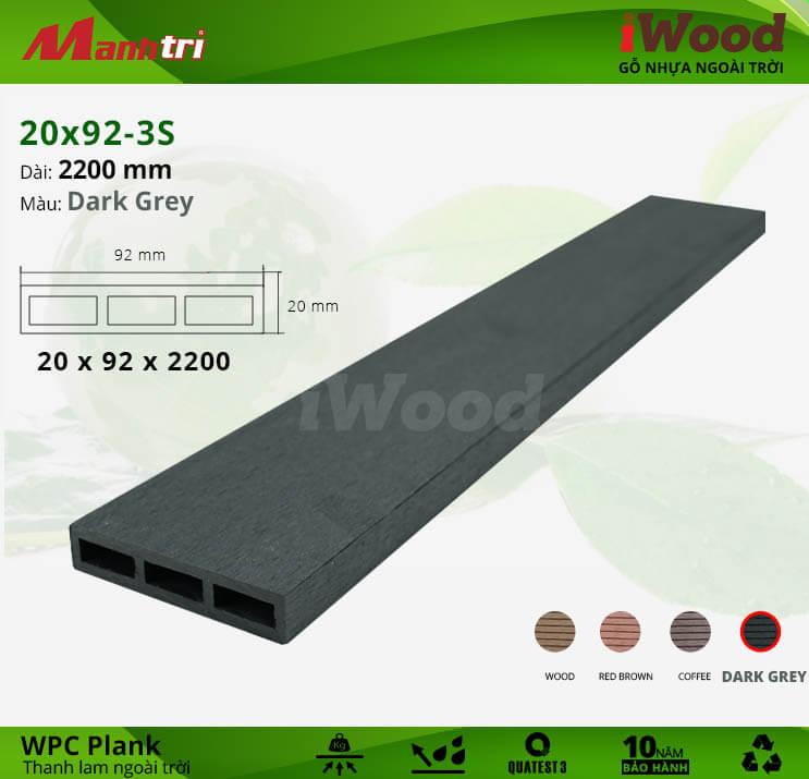Thanh lam gỗ iWood 20x92-3S-Dark Grey