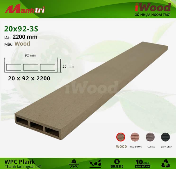 Thanh lam gỗ iWood 20x92-3S-Wood