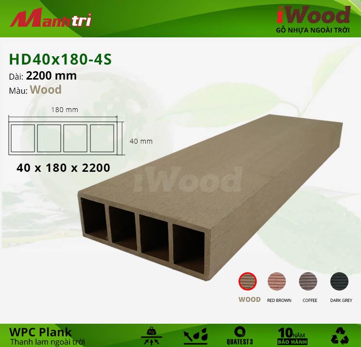 Thanh lam gỗ iWood HD40x180-4S-Wood