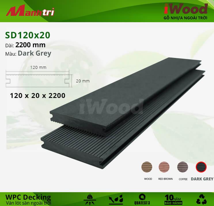 Sàn gỗ iWood SD120x20-Dark Grey