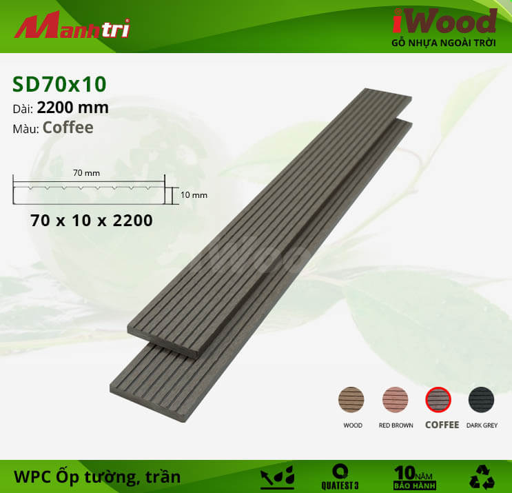 Ốp tường-trần gỗ iWood SD70x10-Coffee