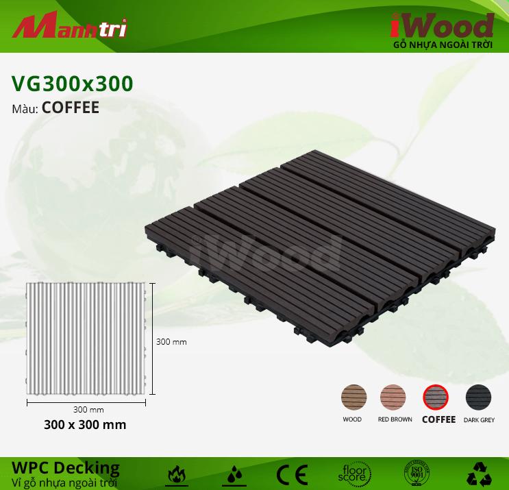 Vỉ Gỗ Nhựa Lót Sàn iWood VG300x300-Coffee