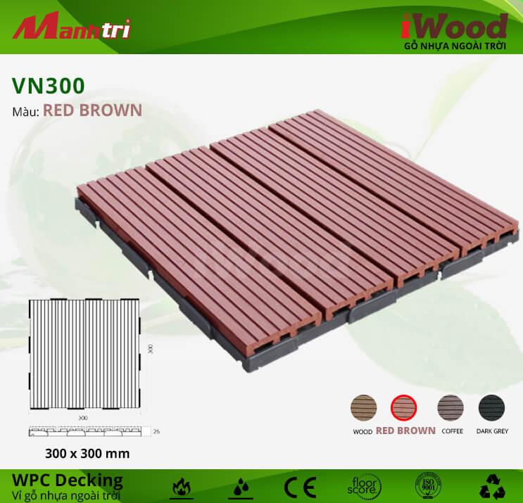 Vỉ Gỗ Nhựa Lót Sàn iWood VN300-Red Brown
