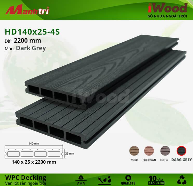 Sàn gỗ iWood HD140x25-4S-Dark Grey