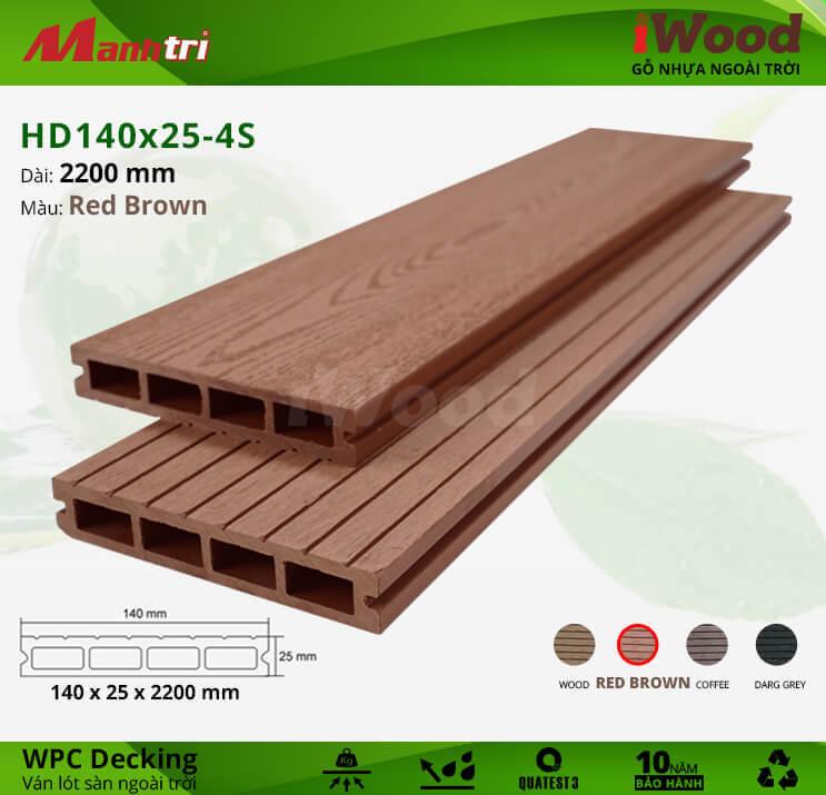 Sàn gỗ iWood HD140x25-4S-Red Brown